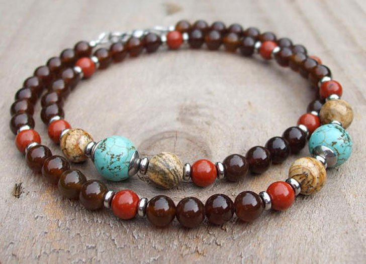 Blue Magnesite Coffee Brown Agate and Red Jasper Beaded Necklace - Beaded Necklaces For Men