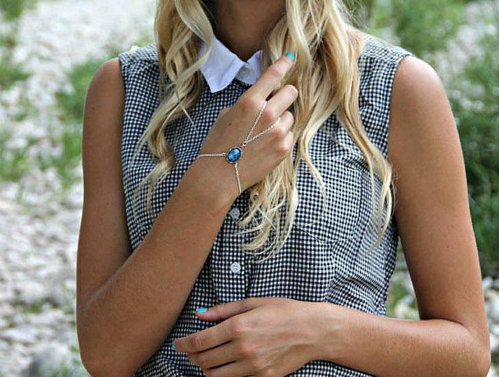 Blue Opal Slave Bracelet in Silver