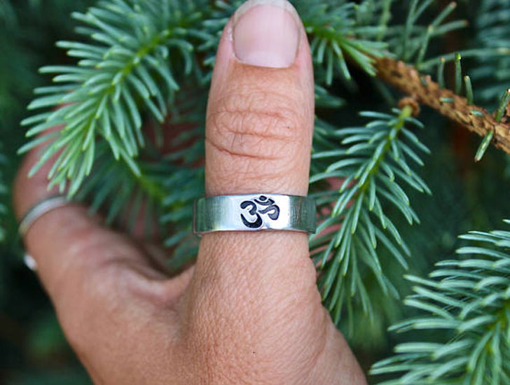 Boho Aum Sign Mens Thumb Ring