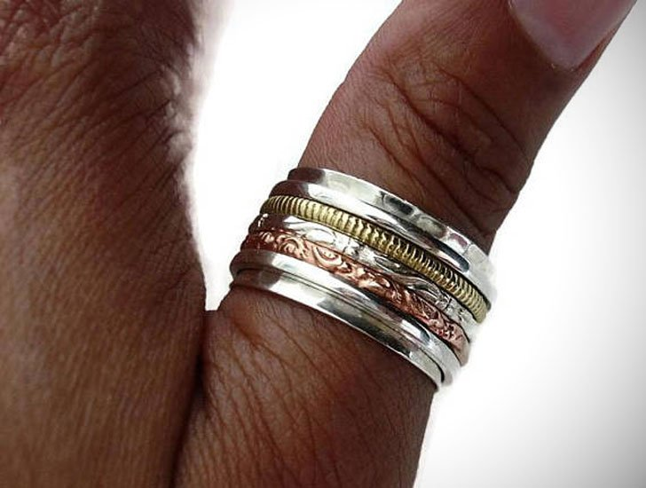 Brass, Silver & Copper Textured Spinner Thumb Ring