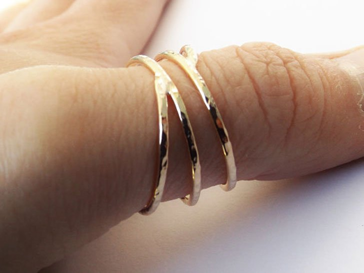 Bypass Coil Textured Thumb Ring