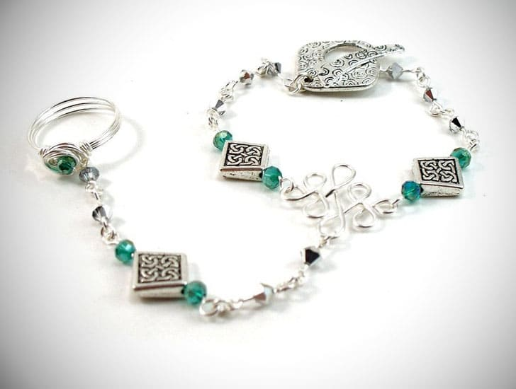Celtic Slave Bracelet with Emerald Green & Silver Crystals