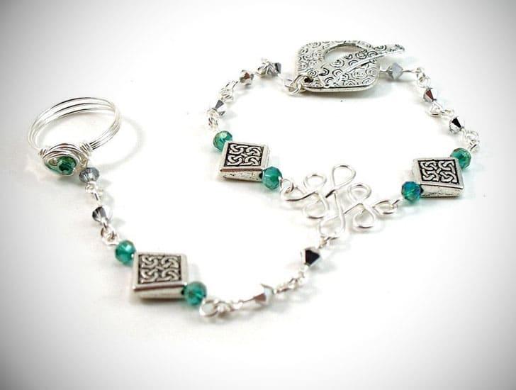 Celtic Slave Bracelet with Emerald Green & Silver Crystals