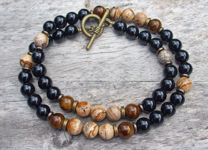 Coffee Brown Dolomite and Black Onyx Mens Beaded Necklace - Unique Beaded Necklaces For Men