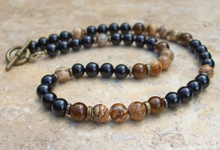 Coffee Brown Dolomite and Black Onyx Mens Beaded Necklace