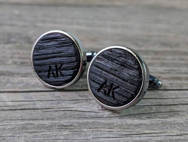 Custom Engraved Cufflinks Crafted from a Bourbon Barrel