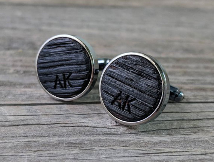 Custom Engraved Cufflinks Crafted from a Bourbon Barrel