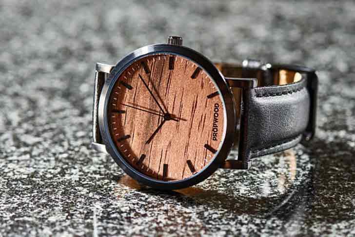 Custom Engraved Leather & Black Wood Watch