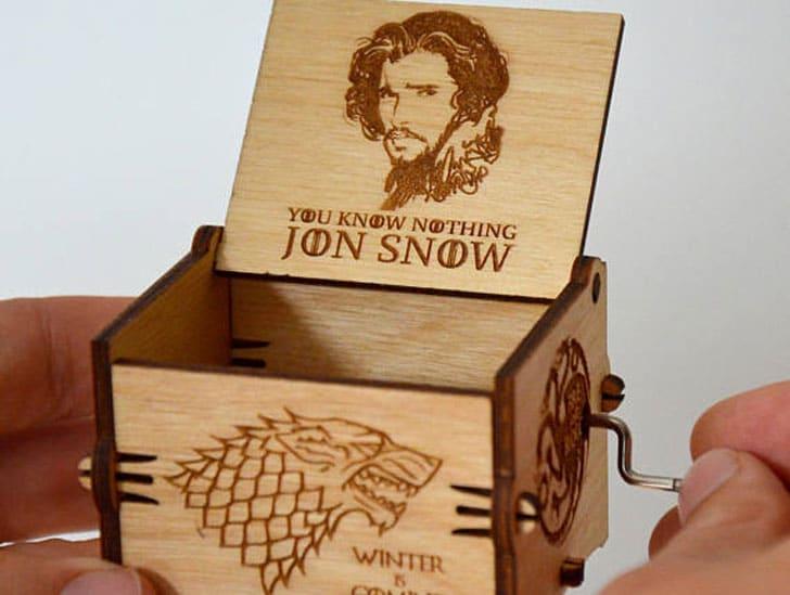 Custom Jon Snow Wooden Musical Box