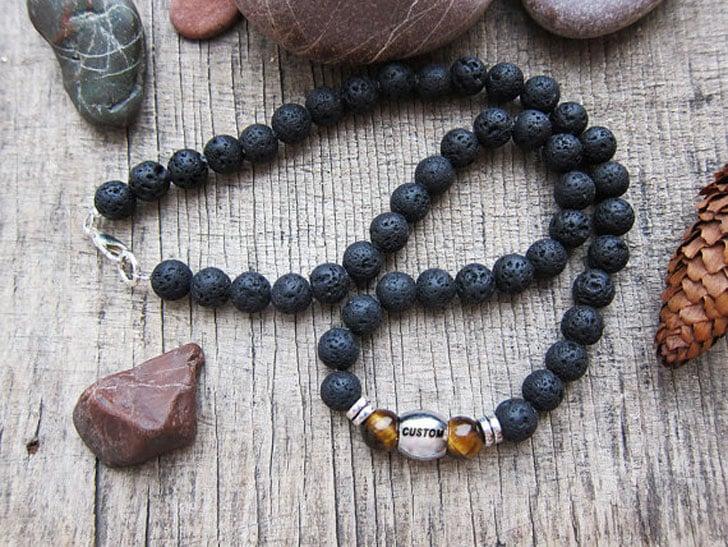 Custom Monogram Men's Beaded Necklace - Beaded Necklaces For Men