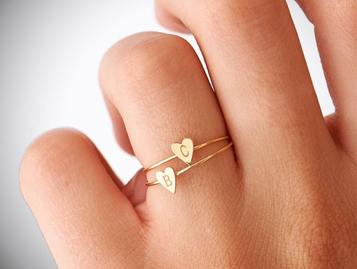 Dainty Personalized Initial Rings