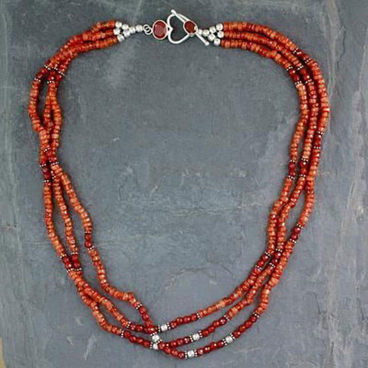 Fair Trade Beaded Carnelian Multi-Strand Necklace