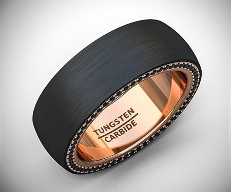 Flat Edge Black Tungsten Ring