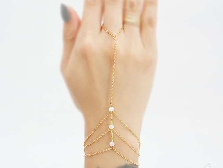 Frosted Crystal Rondelle Three Chain Bracelet