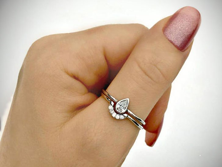 Frosted Raindrop Minimal Silver Stacking Thumb Ring