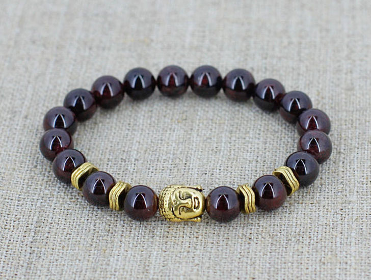 Garnet Beaded Buddha Bracelet