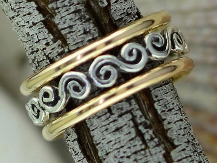 Gold Filled and Silver Swirly Thumb Ring