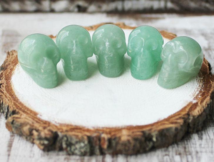 Green Aventurine Sacred Hand Carved Skull Beads