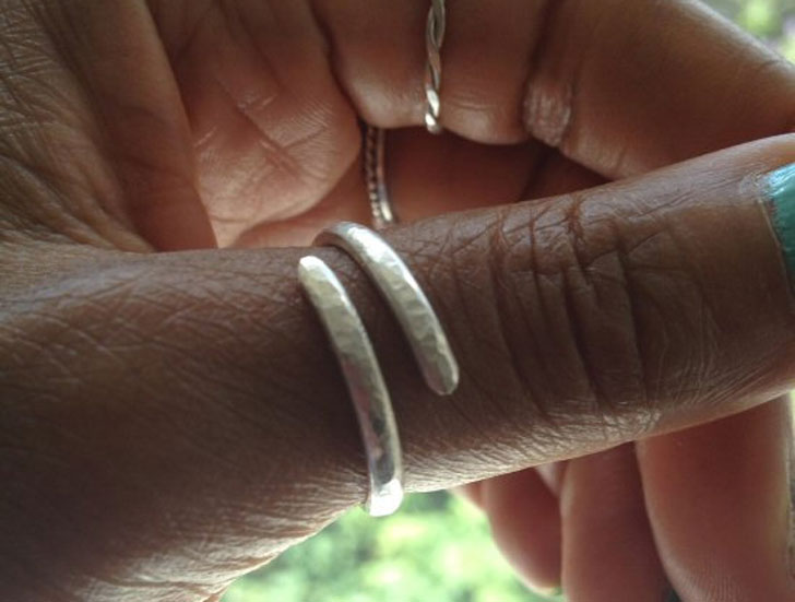 Hammered Silver Wraparound Thumb Ring