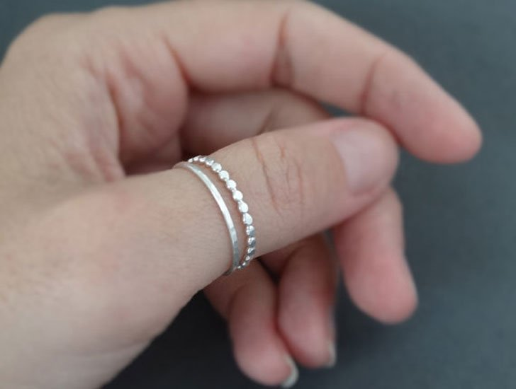 Hammered Sterling Silver Beaded Wire Ring