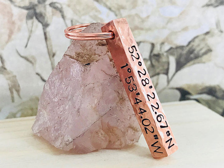 Hand Stamped Copper Bar Keyring