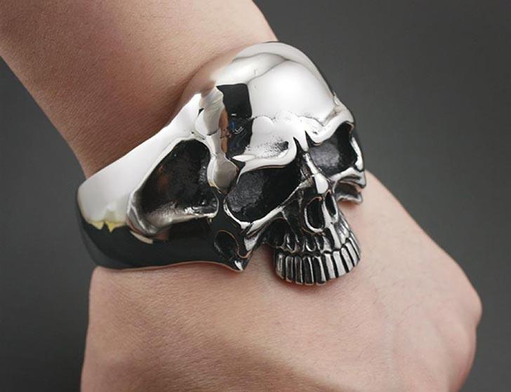 Heavy Skull Mens Bracelet Cuff