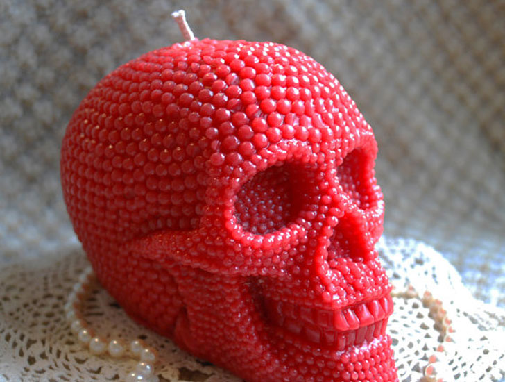 Large Beeswax Skull Candle