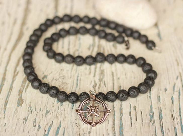 Lava Bead Compass Necklace