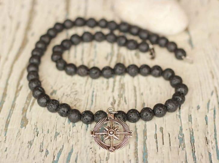 Lava Bead Compass Necklace