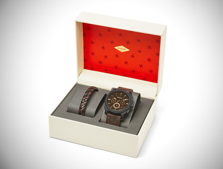 Machine Chronograph Leather Watch and Bracelet Box Set