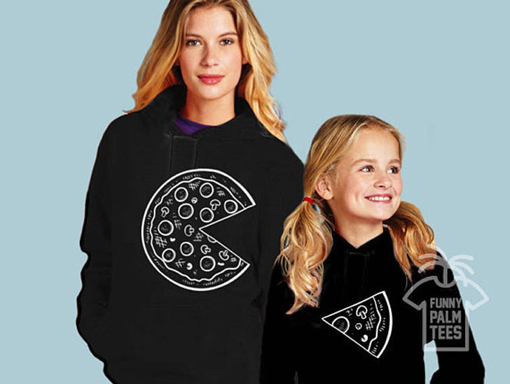 Matching Pizza Hoodies for mother and daughter