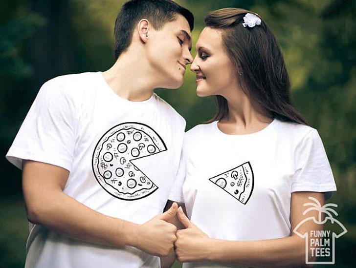 Matching Pizza t-shirts