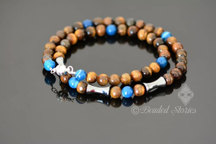 Mens Beaded Gemstone Choker Necklace