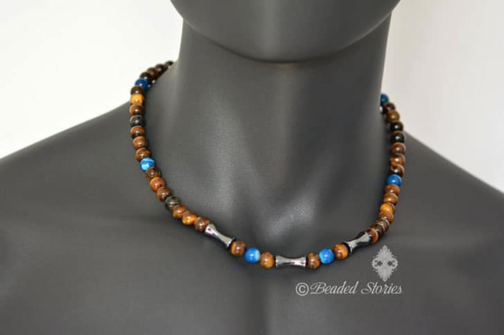 Mens Beaded Gemstone Choker Necklace