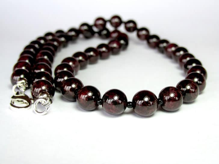 Mens Garnet Gemstone Bead Necklace