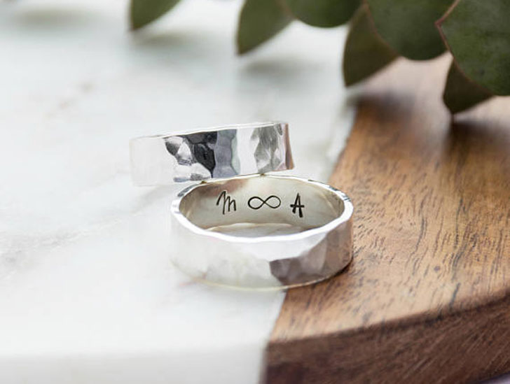 Men's Hammered Silver Personalised Ring