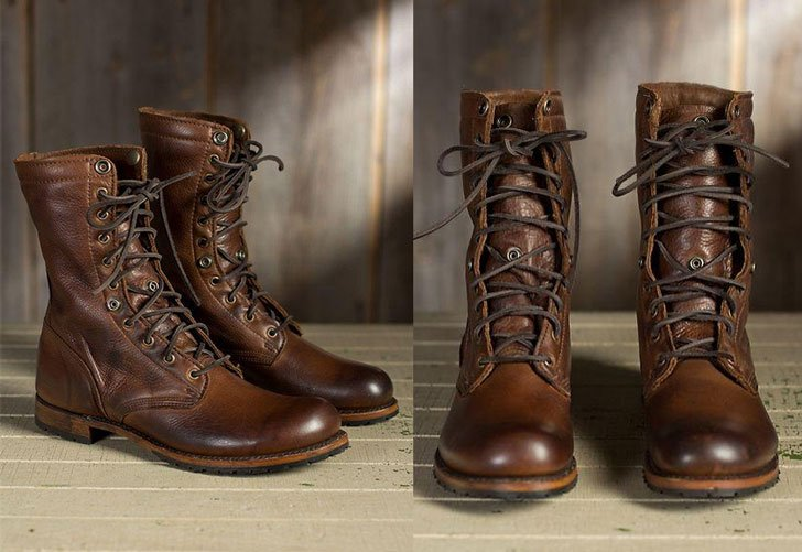 Mens Handmade Brown Military Boots - Combat Boots For Men