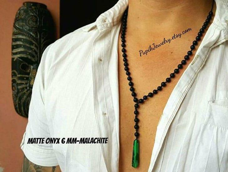 Men's Malachite Long Beaded Pendant Necklace