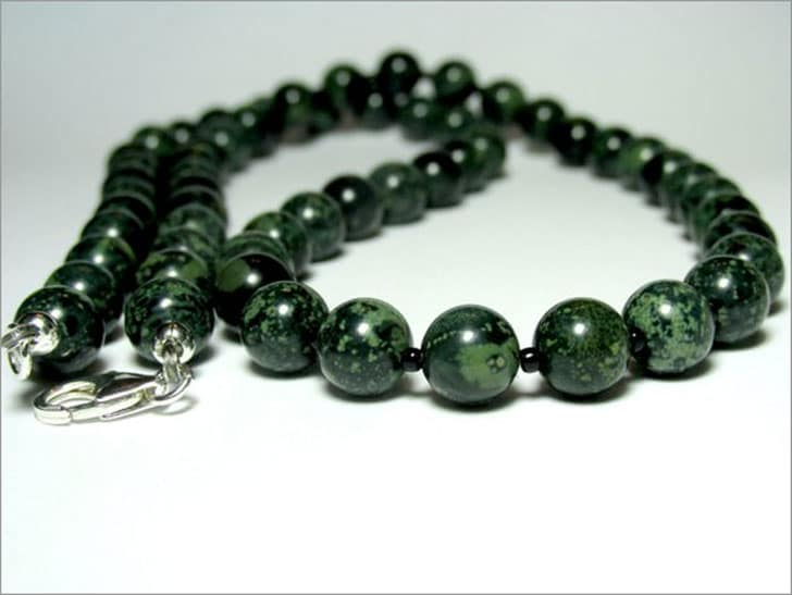 Mens Rhyolite Bead Necklace