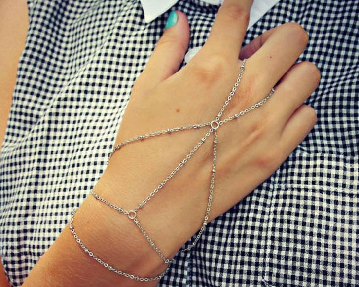 Minimalist Silver Hand Piece Chain Bracelet