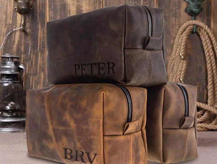 Monogrammed Men's Leather Toiletry Bag