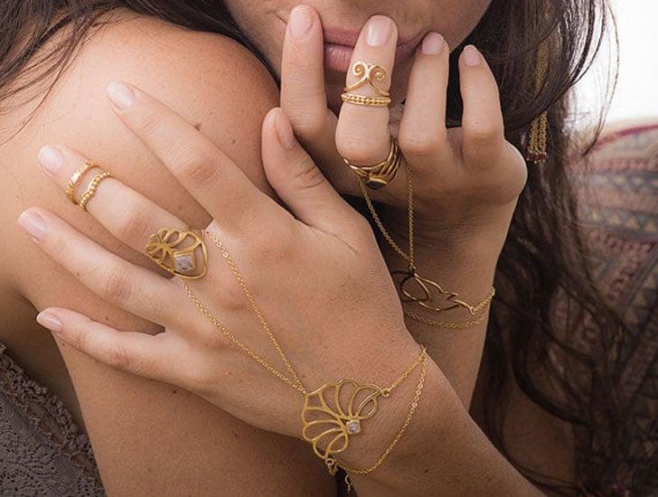 Moonstone Gold Slave Bracelet