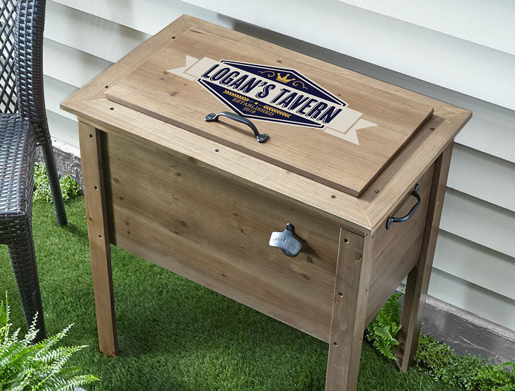 Personalized Outdoor Wooden Beverage Cooler