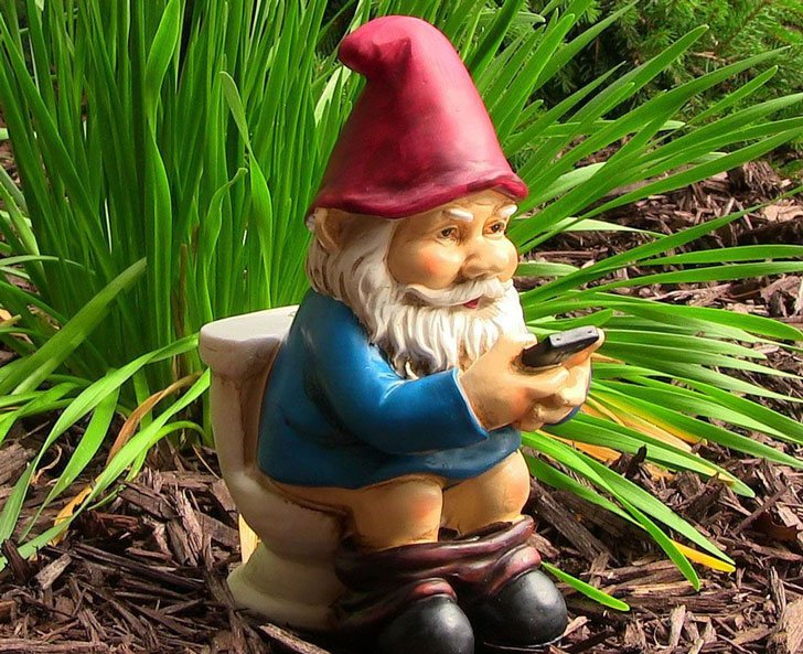 Reading Phone on the Throne Garden Gnome