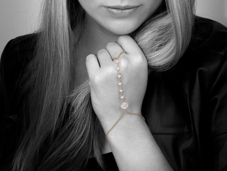 Rose Quartz Hand Chain Bracelet