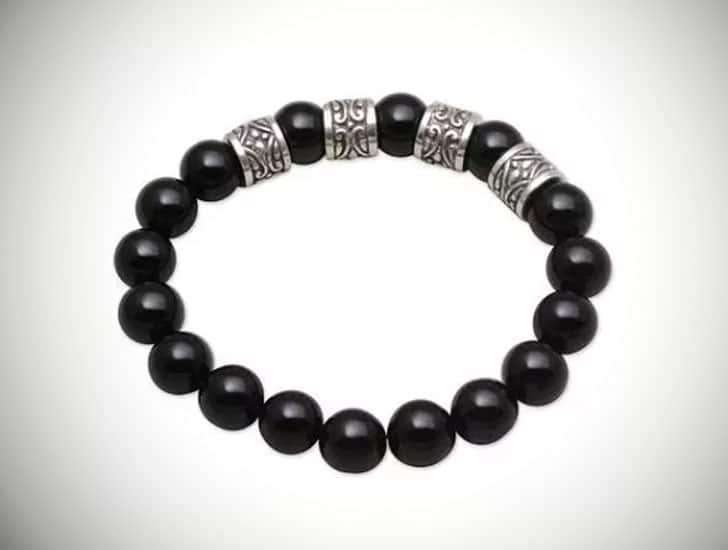 Men's Onyx and Silver Beaded Necklace