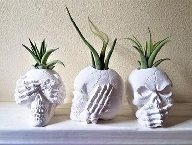 See No Evil, Hear No Evil, Speak No Evil Skull Planters