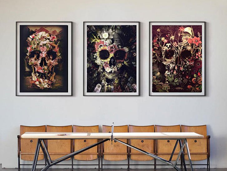 Set Of 3 Skull Prints