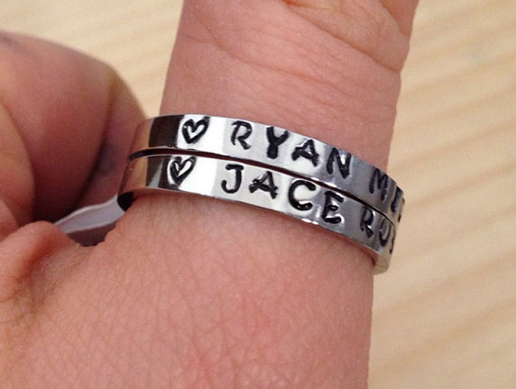 Set of Two Personalized Thumb Ring Set