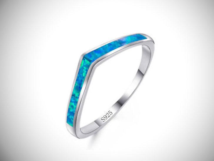 Silver Blue Fire Opal Chevron Thumb